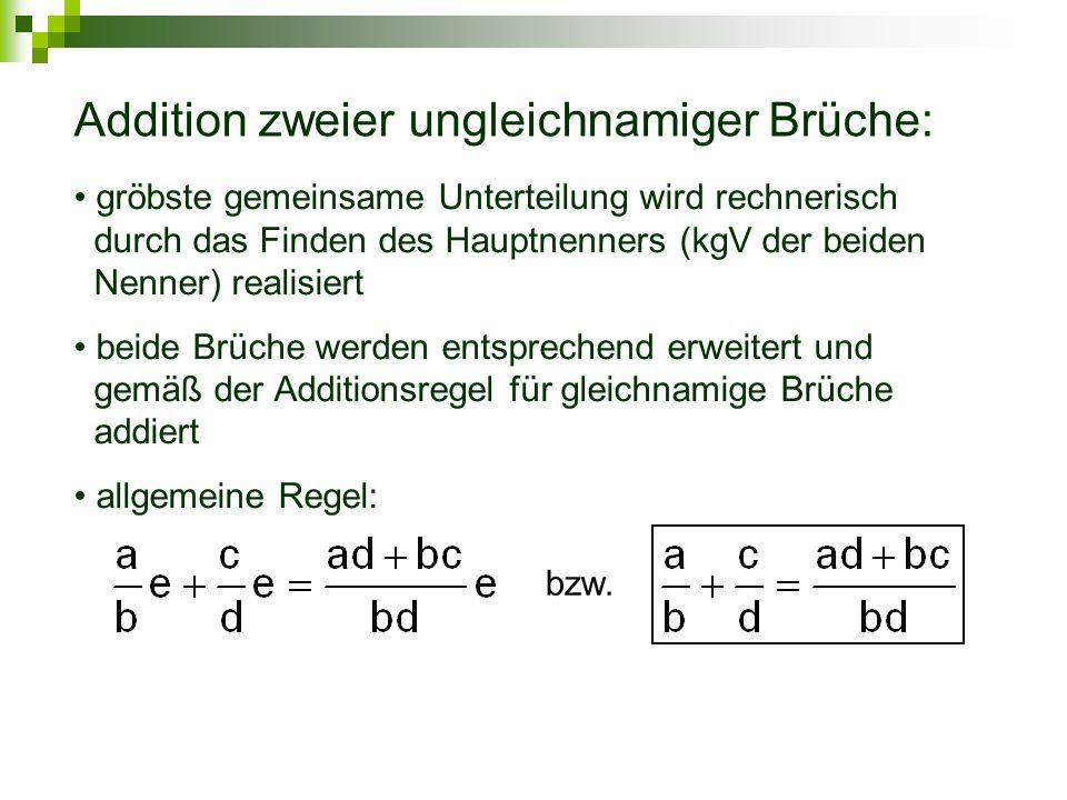 Addition zweier ungleichnamiger Brüche: gröbste gemeinsame Unterteilung wird rechnerisch durch das Finden des Hauptnenners (kgV der beiden Nenner) rea