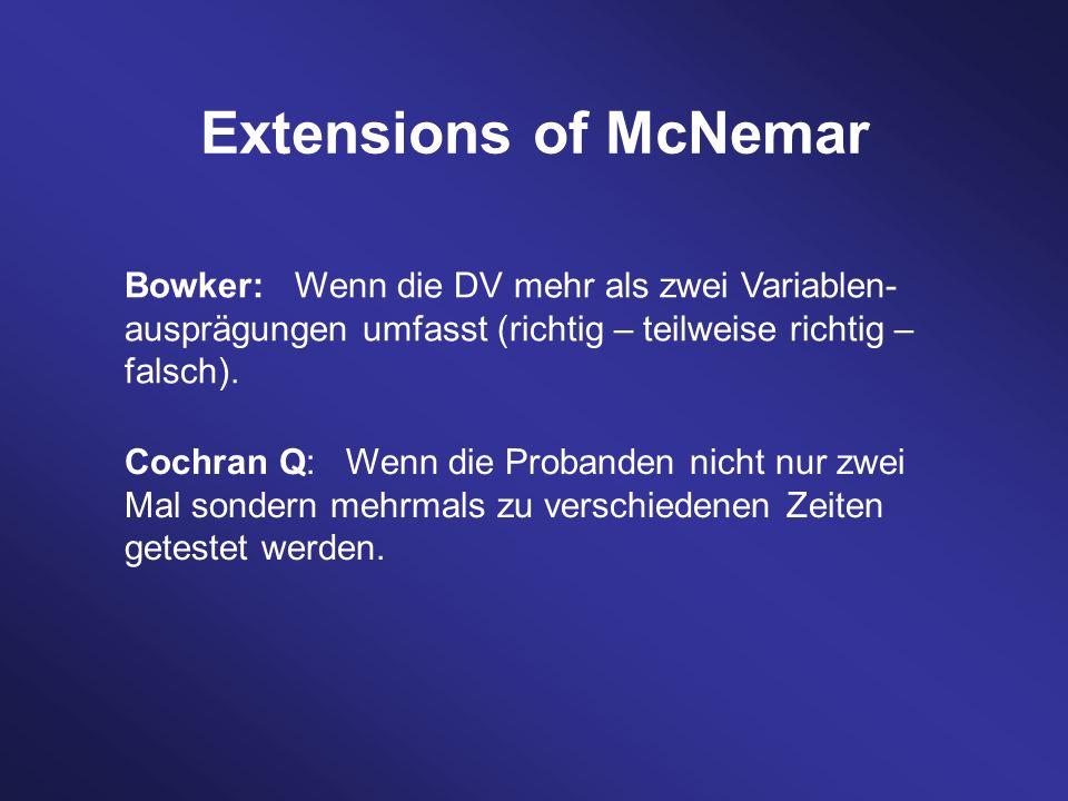 Extensions of McNemar Bowker: Wenn die DV mehr als zwei Variablen- ausprägungen umfasst (richtig – teilweise richtig – falsch). Cochran Q: Wenn die Pr