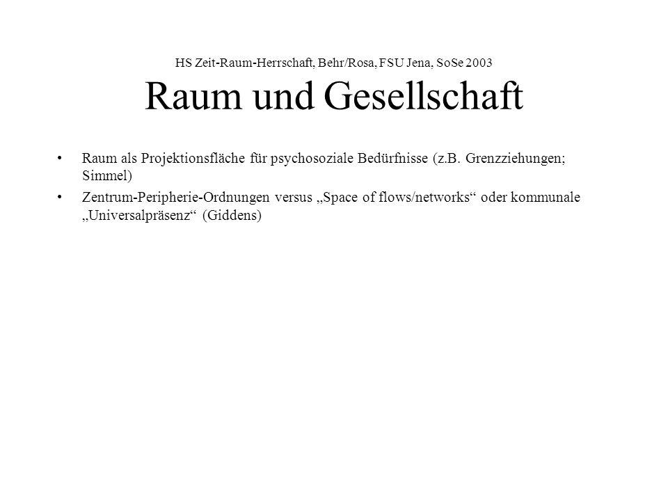 HS Zeit-Raum-Herrschaft, Behr/Rosa, FSU Jena, SoSe 2003 Raum und Gesellschaft Raum als Projektionsfläche für psychosoziale Bedürfnisse (z.B.