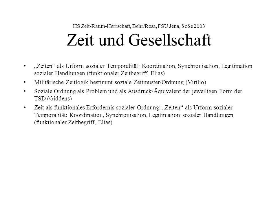HS Zeit-Raum-Herrschaft, Behr/Rosa, FSU Jena, SoSe 2003 Zeit-Raum-Regime ZRR bestimmt durch Form, Extension und Intension der Time-Space-Distanciation, d.h.