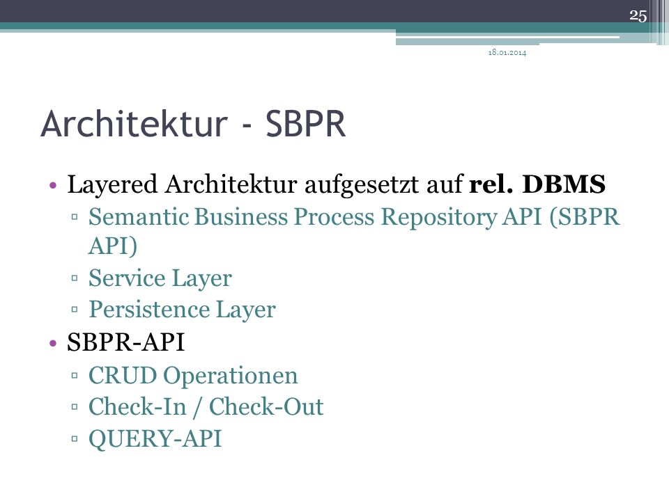 Architektur - SBPR Layered Architektur aufgesetzt auf rel. DBMS Semantic Business Process Repository API (SBPR API) Service Layer Persistence Layer SB