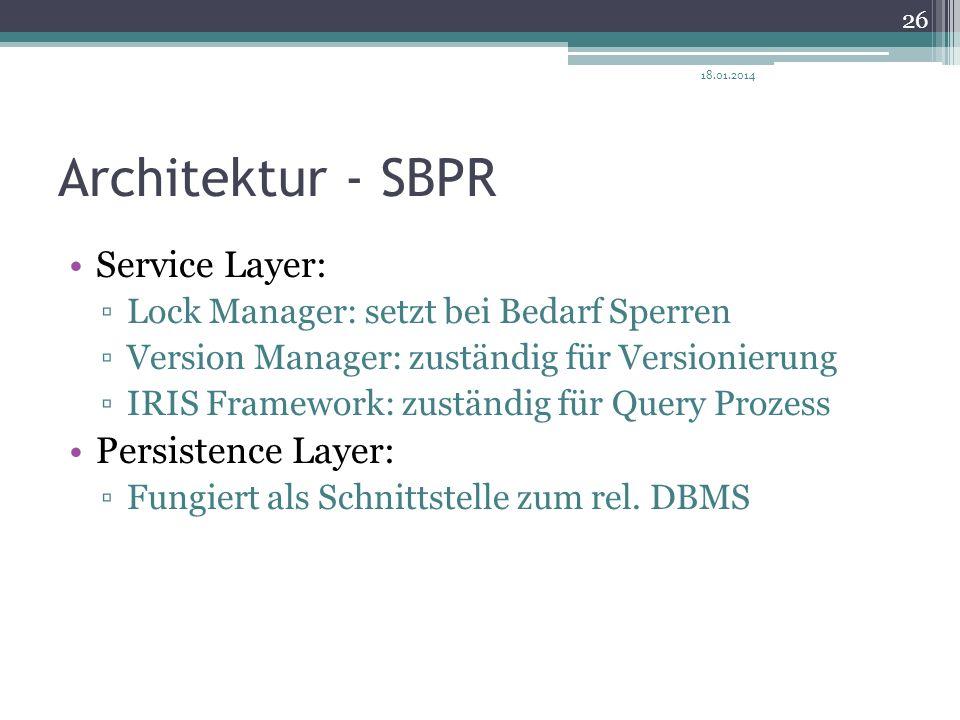 Architektur - SBPR Service Layer: Lock Manager: setzt bei Bedarf Sperren Version Manager: zuständig für Versionierung IRIS Framework: zuständig für Qu