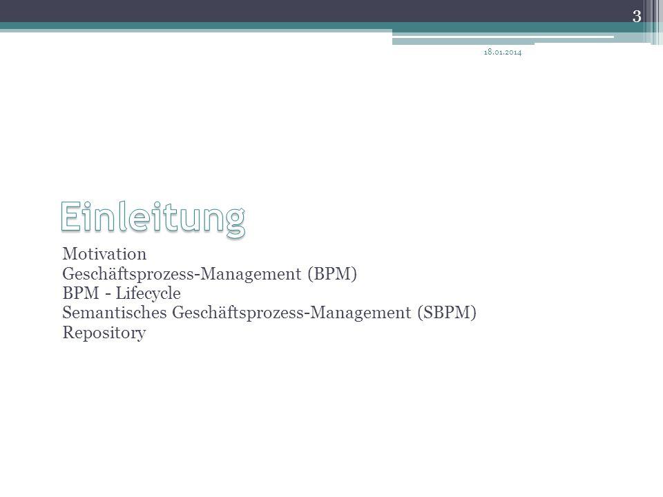 Motivation Geschäftsprozess-Management (BPM) BPM - Lifecycle Semantisches Geschäftsprozess-Management (SBPM) Repository 18.01.2014 3