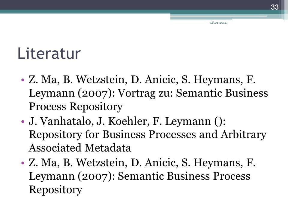 Literatur Z. Ma, B. Wetzstein, D. Anicic, S. Heymans, F. Leymann (2007): Vortrag zu: Semantic Business Process Repository J. Vanhatalo, J. Koehler, F.