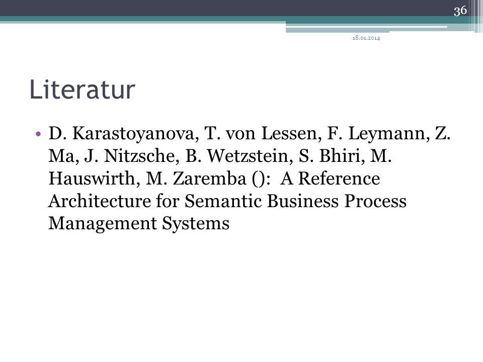 Literatur D. Karastoyanova, T. von Lessen, F. Leymann, Z. Ma, J. Nitzsche, B. Wetzstein, S. Bhiri, M. Hauswirth, M. Zaremba (): A Reference Architectu