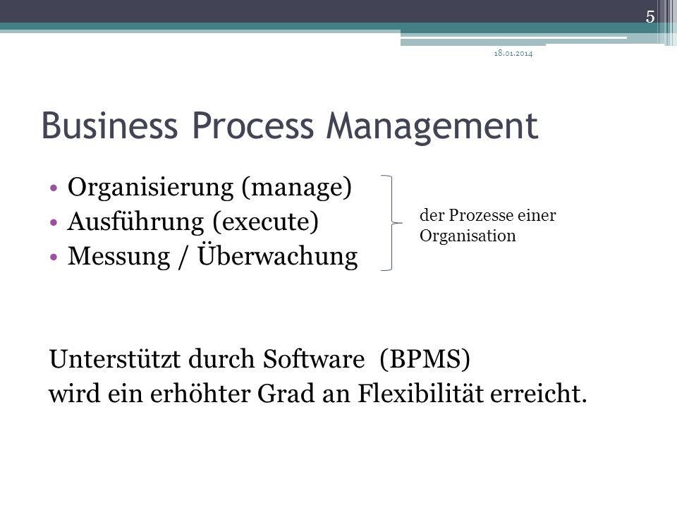 Business Process Management Organisierung (manage) Ausführung (execute) Messung / Überwachung Unterstützt durch Software(BPMS) wird ein erhöhter Grad