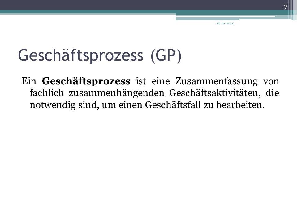 Geschäftsprozess (GP) Ein Geschäftsprozess ist eine Zusammenfassung von fachlich zusammenhängenden Geschäftsaktivitäten, die notwendig sind, um einen