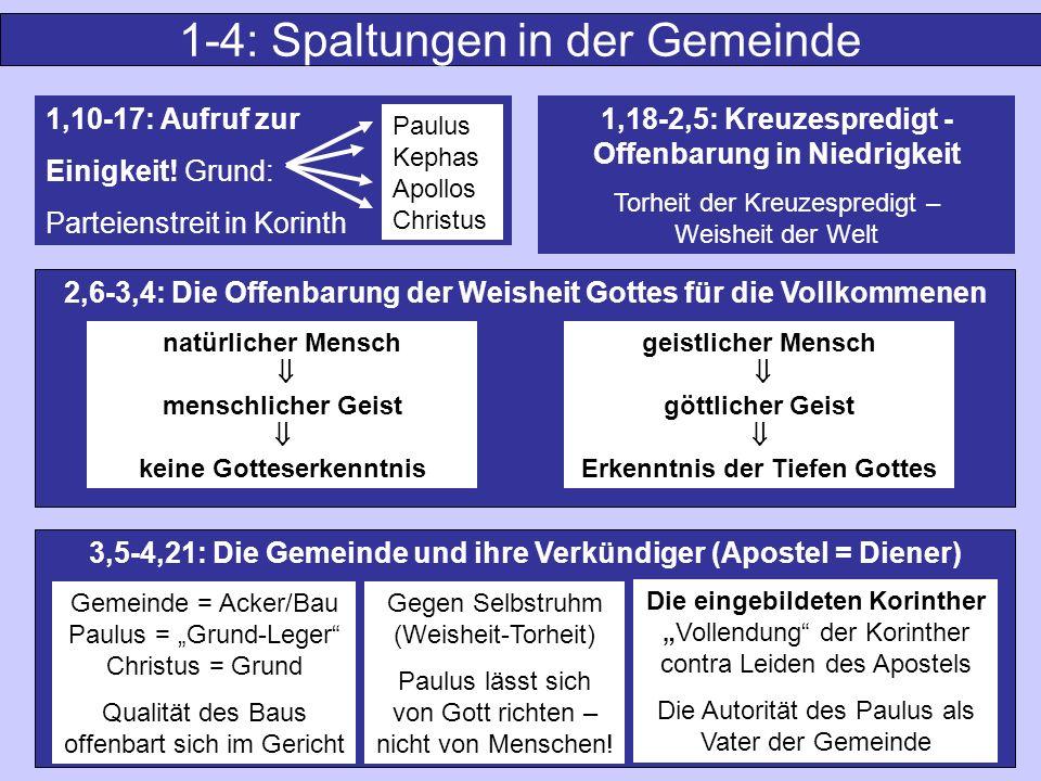 1-4: Spaltungen in der Gemeinde 3,5-4,21: Die Gemeinde und ihre Verkündiger (Apostel = Diener) 1,10-17: Aufruf zur Einigkeit! Grund: Parteienstreit in
