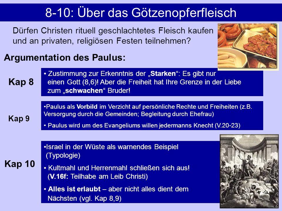 8-10: Über das Götzenopferfleisch Dürfen Christen rituell geschlachtetes Fleisch kaufen und an privaten, religiösen Festen teilnehmen? Zustimmung zur