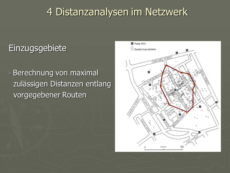 4 Distanzanalysen im Netzwerk Einzugsgebiete - Berechnung von maximal zulässigen Distanzen entlang zulässigen Distanzen entlang vorgegebener Routen vo