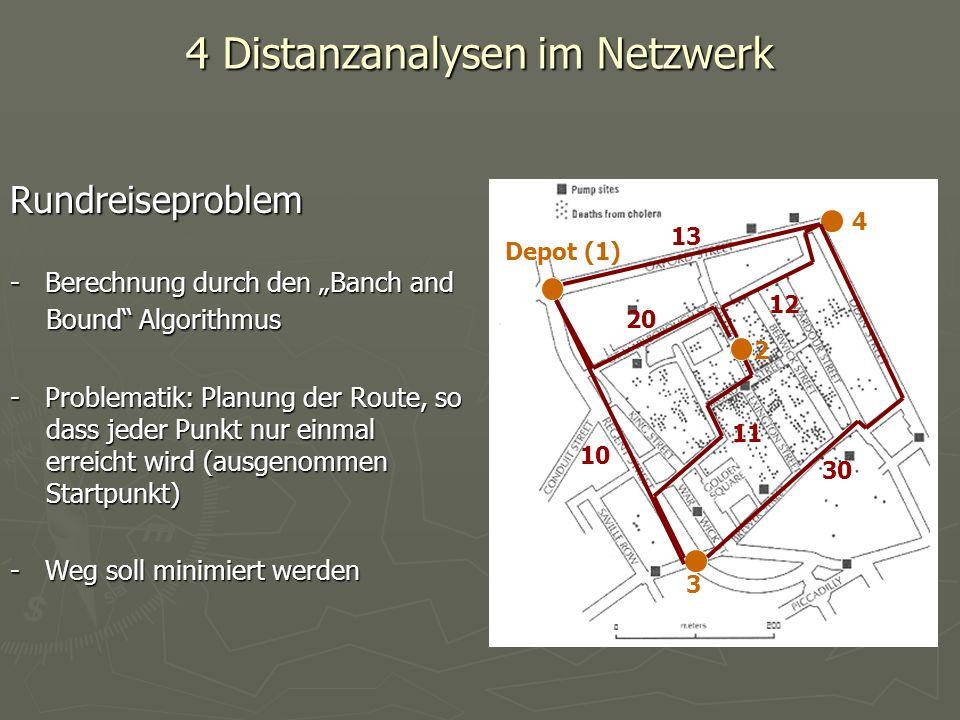 4 Distanzanalysen im Netzwerk Rundreiseproblem - Berechnung durch den Banch and Bound Algorithmus - Problematik: Planung der Route, so dass jeder Punk