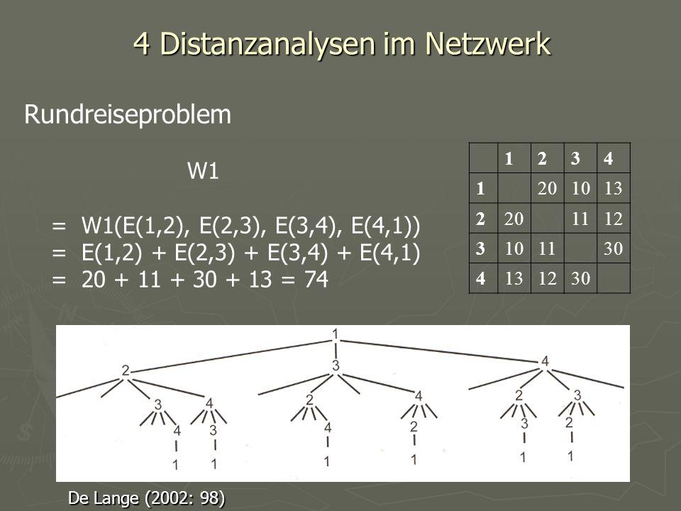 4 Distanzanalysen im Netzwerk 1234 1201013 2201112 3101130 4131230 Rundreiseproblem W1 = W1(E(1,2), E(2,3), E(3,4), E(4,1)) = E(1,2) + E(2,3) + E(3,4)