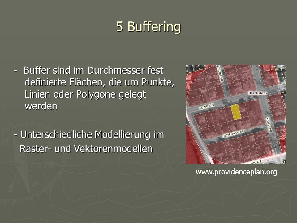 5 Buffering - Buffer sind im Durchmesser fest definierte Flächen, die um Punkte, Linien oder Polygone gelegt werden - Unterschiedliche Modellierung im