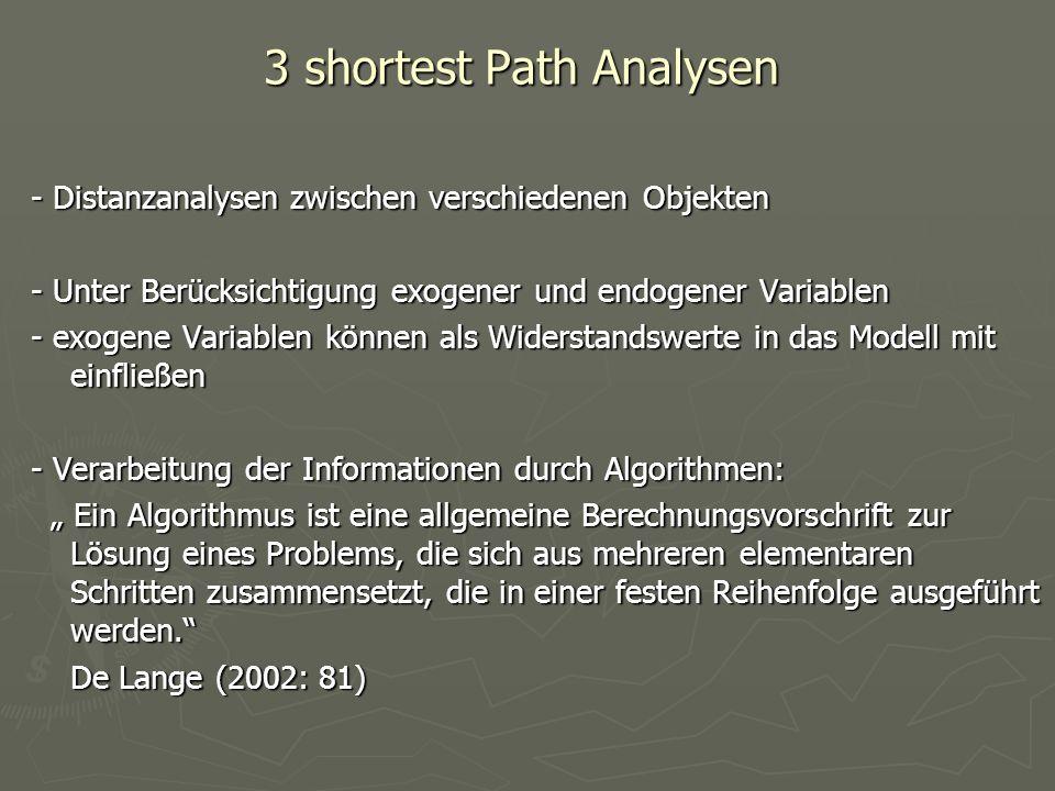 3 shortest Path Analysen - Distanzanalysen zwischen verschiedenen Objekten - Unter Berücksichtigung exogener und endogener Variablen - exogene Variabl