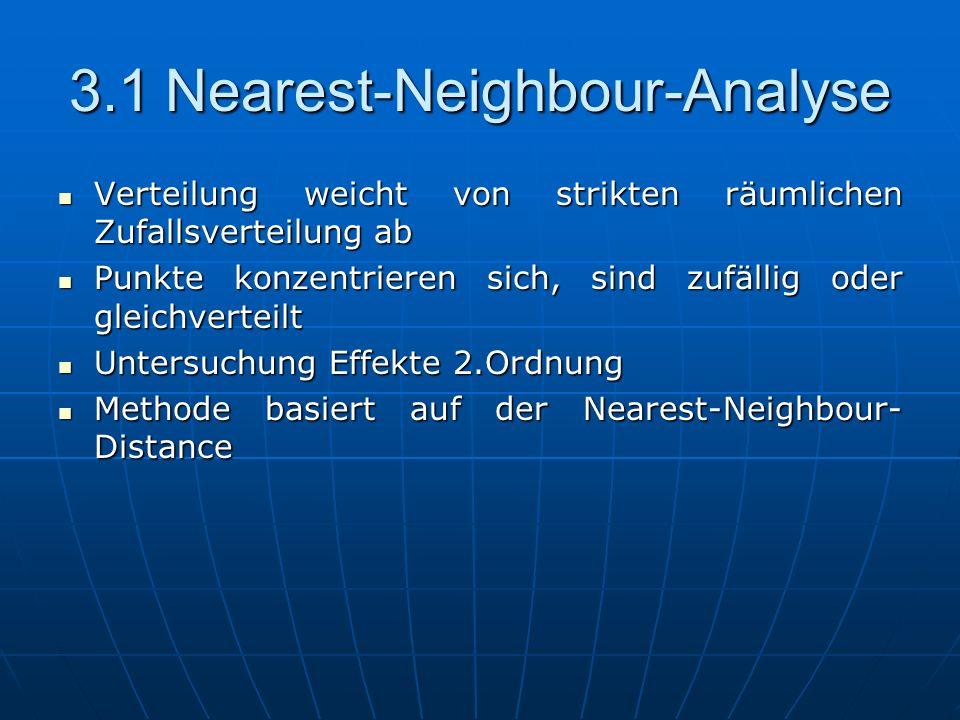 3.1Nearest-Neighbour-Analyse Verteilung weicht von strikten räumlichen Zufallsverteilung ab Verteilung weicht von strikten räumlichen Zufallsverteilun