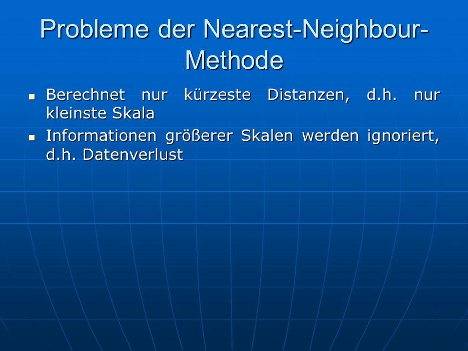 Probleme der Nearest-Neighbour- Methode Berechnet nur kürzeste Distanzen, d.h. nur kleinste Skala Berechnet nur kürzeste Distanzen, d.h. nur kleinste