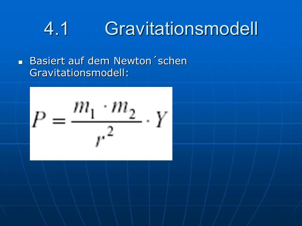 4.1Gravitationsmodell Basiert auf dem Newton´schen Gravitationsmodell: Basiert auf dem Newton´schen Gravitationsmodell: