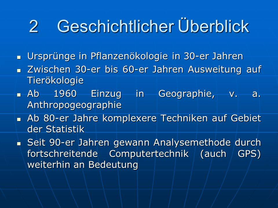 Inhalt 1Einleitung 1Einleitung 2Geschichtlicher Überblick 2Geschichtlicher Überblick 3Methoden der Punktanalyse 3Methoden der Punktanalyse 3.1Nearest-Neigbour-Analysis 3.1Nearest-Neigbour-Analysis 3.2K-Funktion 3.2K-Funktion 4Spatial Interaction Models 4Spatial Interaction Models 4.1Gravitationsmodelle 4.1Gravitationsmodelle 5Zusammenfassung 5Zusammenfassung 6Literatur 6Literatur