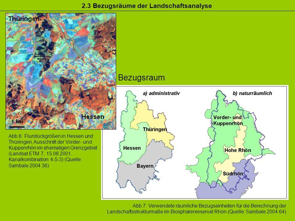 2.3 Bezugsräume der Landschaftsanalyse Bezugsraum Abb.7: Verwendete räumliche Bezugseinheiten für die Berechnung der Landschaftsstrukturmaße im Biosph