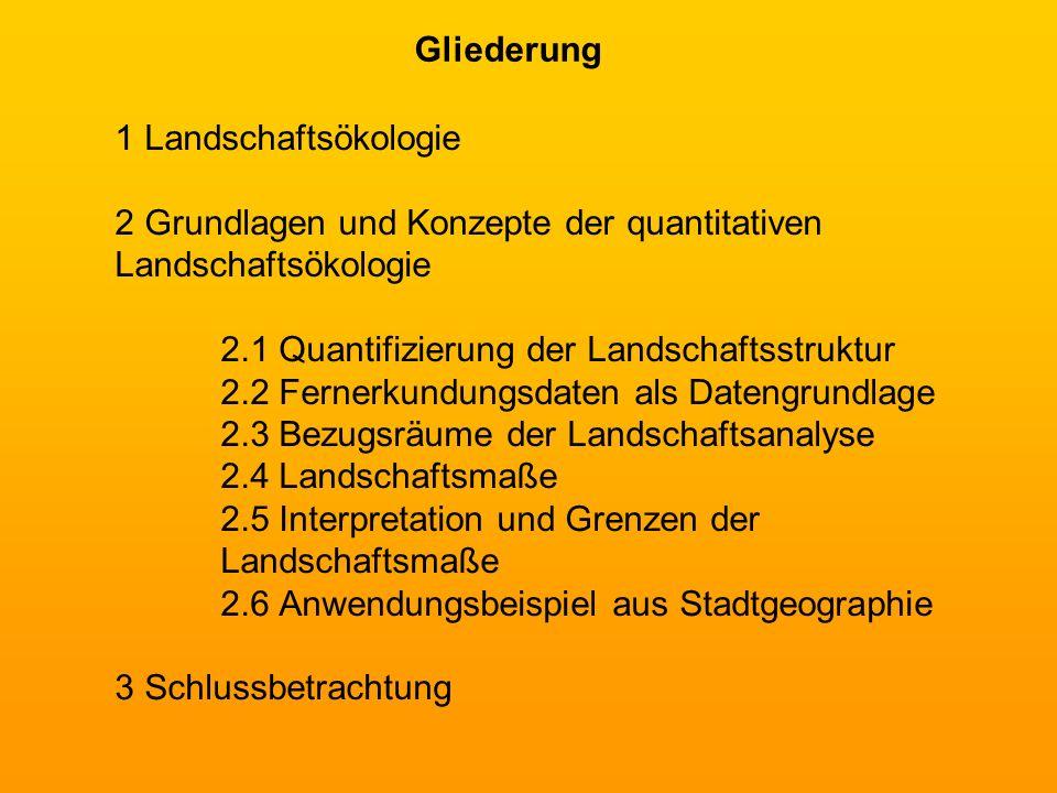 1 Landschaftsökologie 2 Grundlagen und Konzepte der quantitativen Landschaftsökologie 2.1 Quantifizierung der Landschaftsstruktur 2.2 Fernerkundungsda