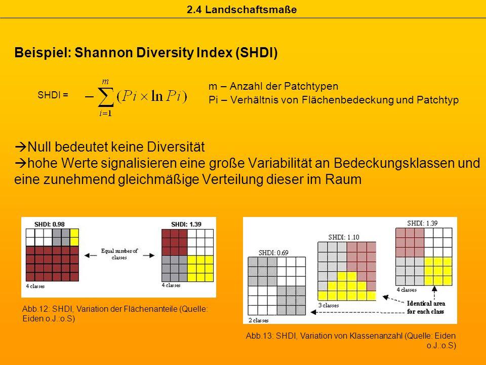 Beispiel: Shannon Diversity Index (SHDI) m – Anzahl der Patchtypen Pi – Verhältnis von Flächenbedeckung und Patchtyp Null bedeutet keine Diversität ho