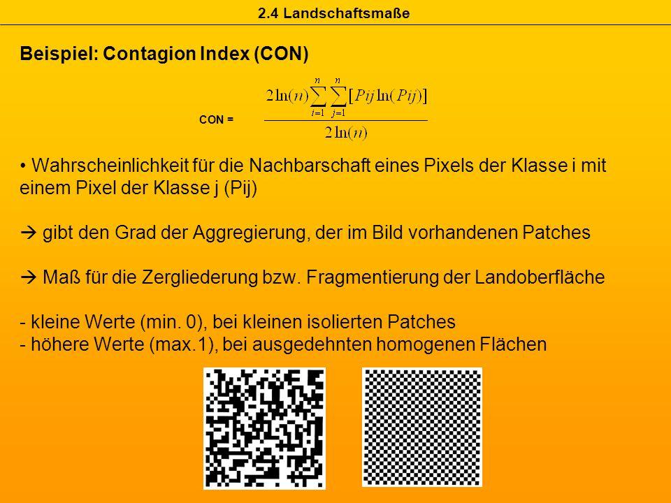 Beispiel: Contagion Index (CON) Wahrscheinlichkeit für die Nachbarschaft eines Pixels der Klasse i mit einem Pixel der Klasse j (Pij) gibt den Grad de
