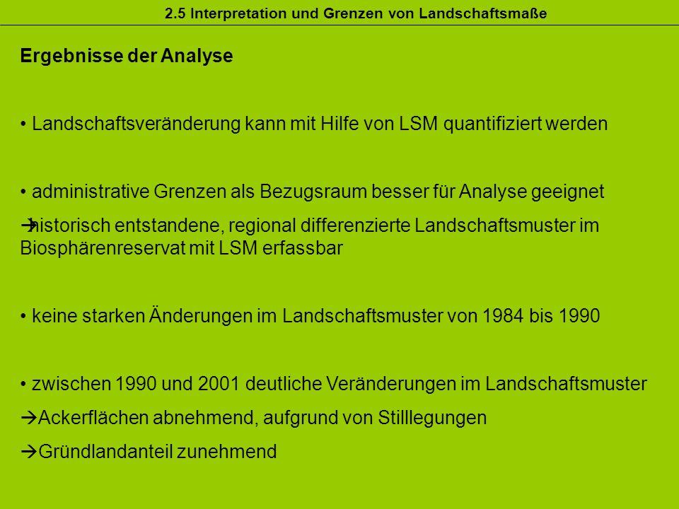 2.5 Interpretation und Grenzen von Landschaftsmaße Ergebnisse der Analyse Landschaftsveränderung kann mit Hilfe von LSM quantifiziert werden administr