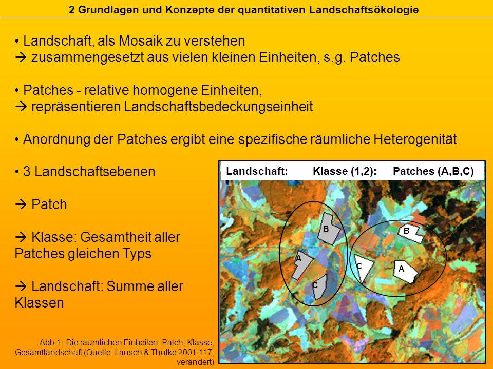 Landschaft, als Mosaik zu verstehen zusammengesetzt aus vielen kleinen Einheiten, s.g. Patches Patches - relative homogene Einheiten, repräsentieren L