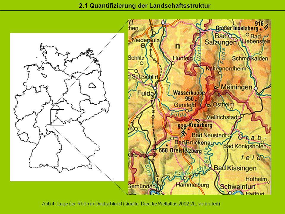 Abb.4: Lage der Rhön in Deutschland (Quelle: Diercke Weltatlas 2002:20, verändert)