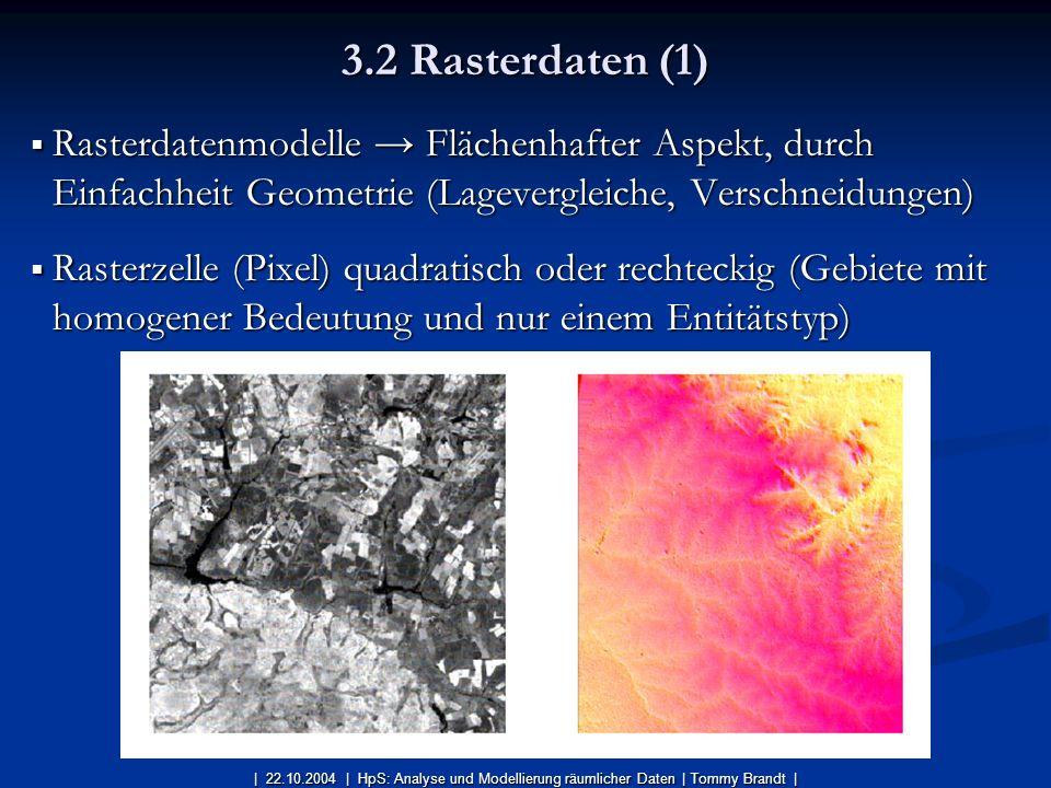 Rasterdatenmodelle Flächenhafter Aspekt, durch Einfachheit Geometrie (Lagevergleiche, Verschneidungen) Rasterdatenmodelle Flächenhafter Aspekt, durch