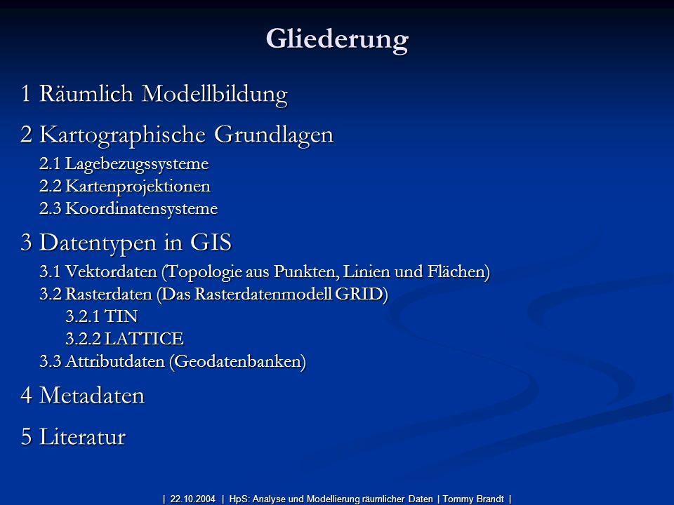 1 Räumlich Modellbildung 2 Kartographische Grundlagen 2.1 Lagebezugssysteme 2.2 Kartenprojektionen 2.3 Koordinatensysteme 3 Datentypen in GIS 3.1 Vekt