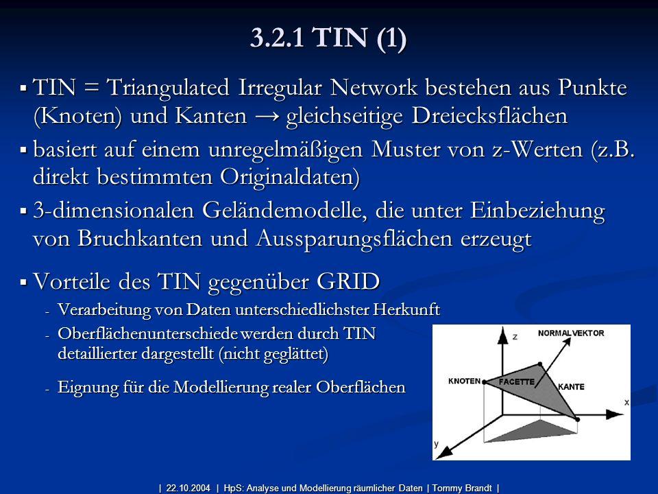 TIN = Triangulated Irregular Network bestehen aus Punkte (Knoten) und Kanten gleichseitige Dreiecksflächen TIN = Triangulated Irregular Network besteh
