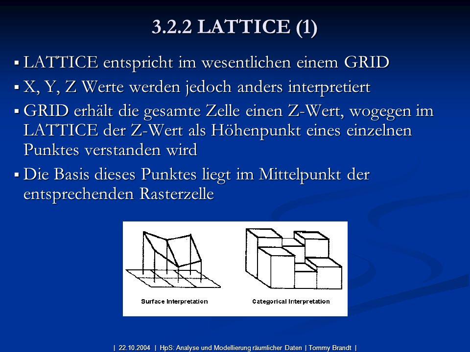 LATTICE entspricht im wesentlichen einem GRID LATTICE entspricht im wesentlichen einem GRID X, Y, Z Werte werden jedoch anders interpretiert X, Y, Z W