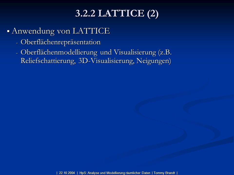 Anwendung von LATTICE Anwendung von LATTICE - Oberflächenrepräsentation - Oberflächenmodellierung und Visualisierung (z.B. Reliefschattierung, 3D-Visu