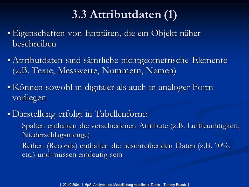 Eigenschaften von Entitäten, die ein Objekt näher beschreiben Eigenschaften von Entitäten, die ein Objekt näher beschreiben Attributdaten sind sämtlic
