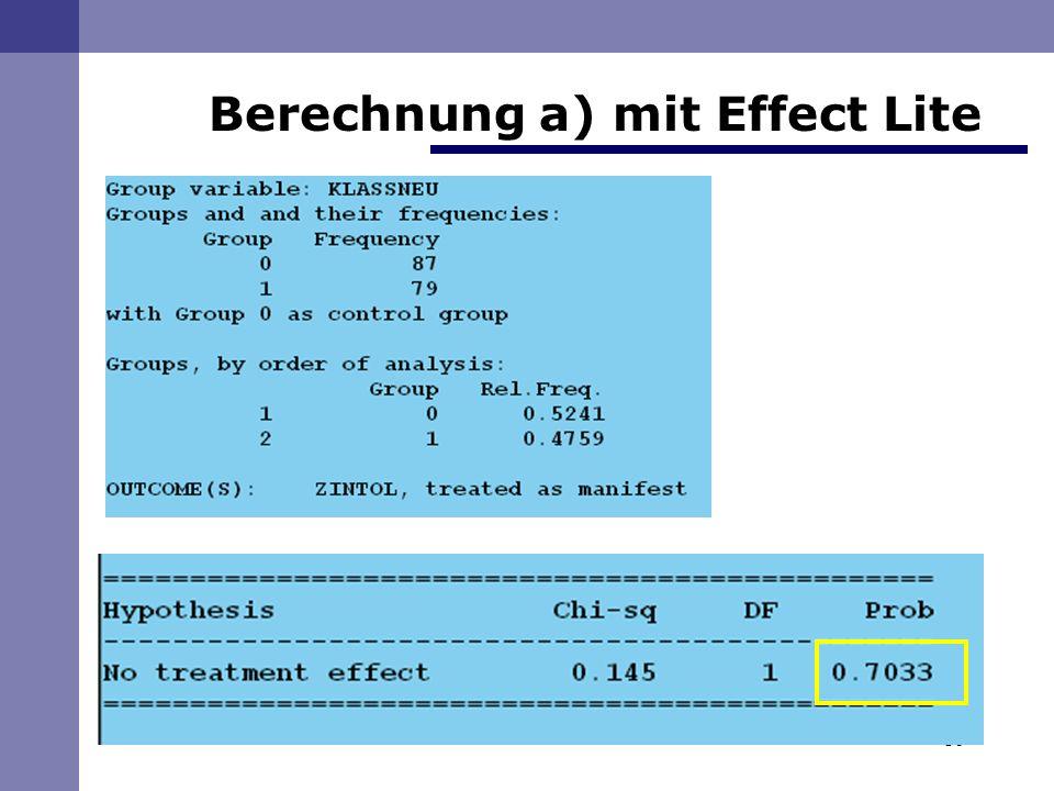 16 Berechnung a) mit Effect Lite