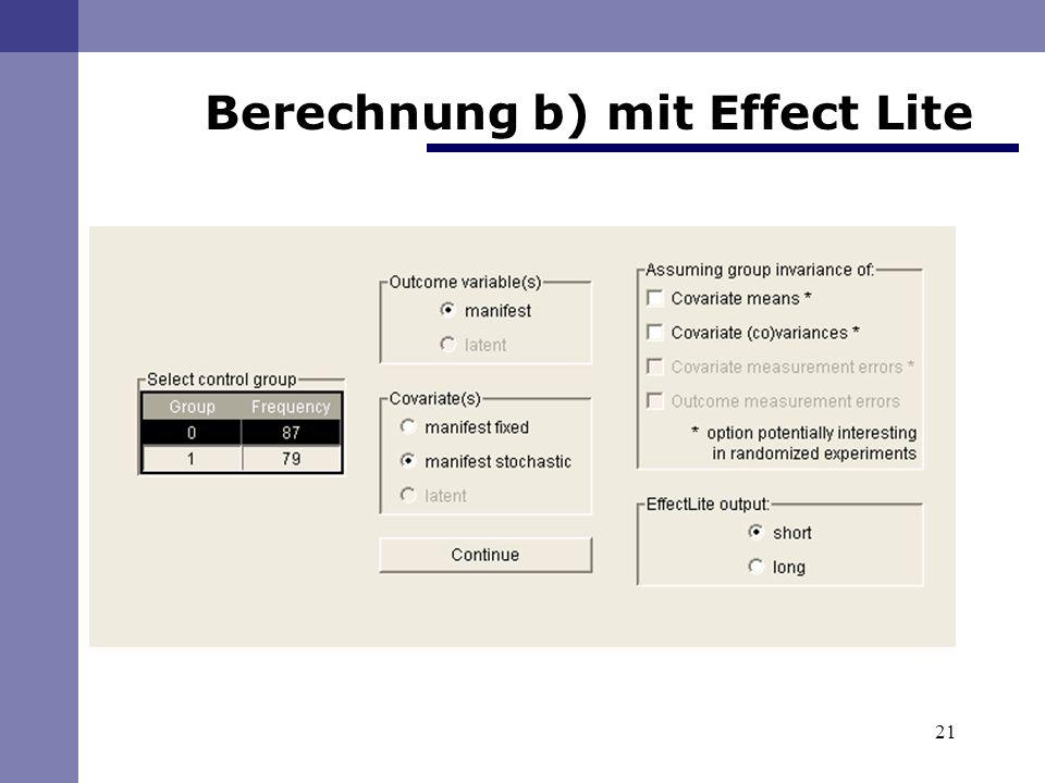 21 Berechnung b) mit Effect Lite