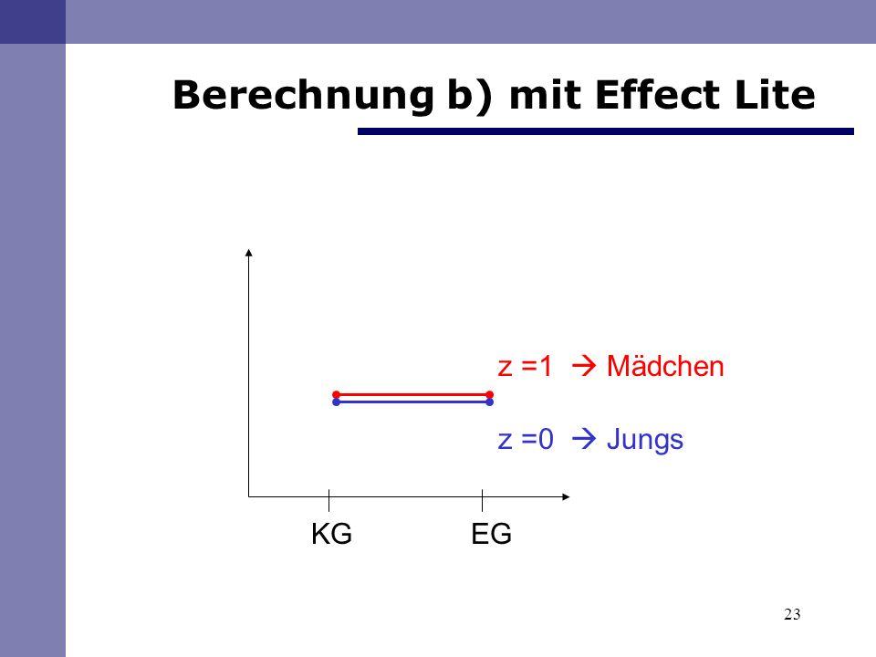 23 KG EG z =1 Mädchen z =0 Jungs Berechnung b) mit Effect Lite