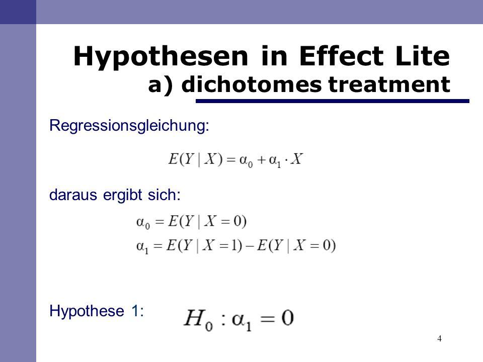 15 Berechnung a) mit Effect Lite dichotomes treatment, ohne Kovariate