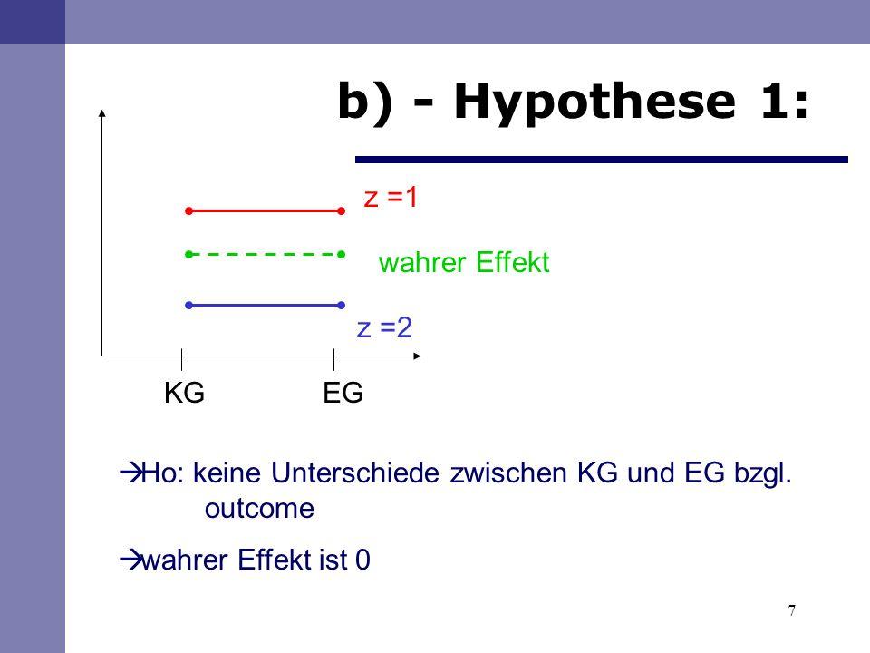 7 b) - Hypothese 1: KG EG Ho: keine Unterschiede zwischen KG und EG bzgl.