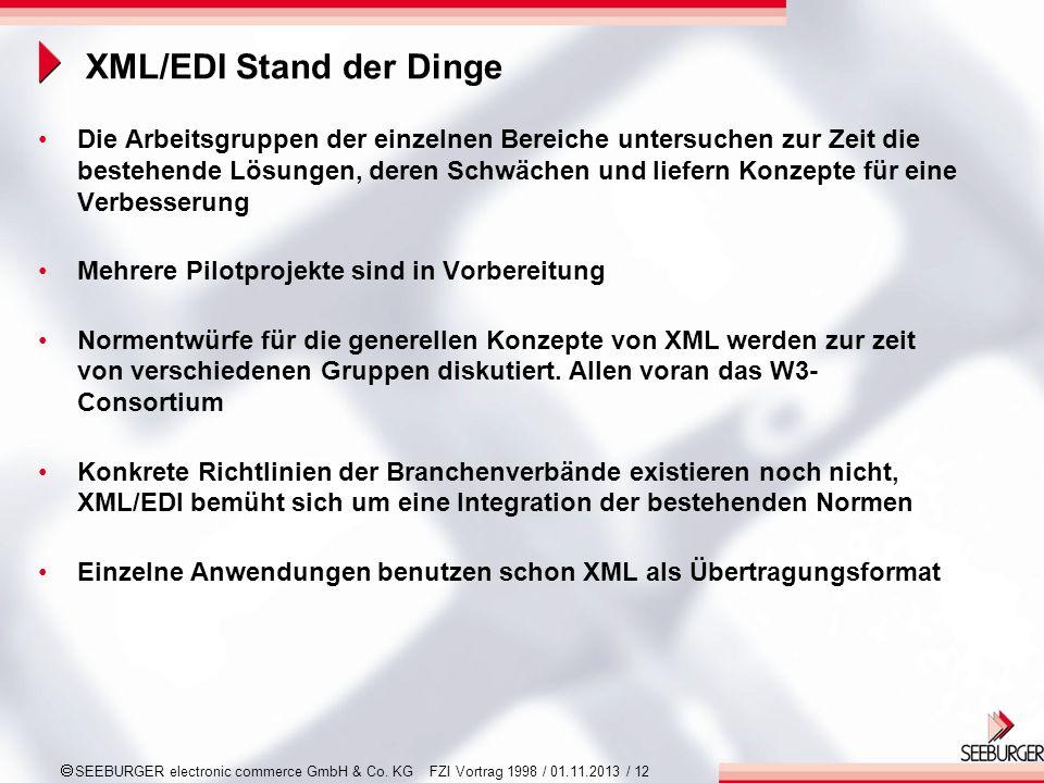 SEEBURGER electronic commerce GmbH & Co. KG FZI Vortrag 1998 / 01.11.2013 / 12 XML/EDI Stand der Dinge Die Arbeitsgruppen der einzelnen Bereiche unter