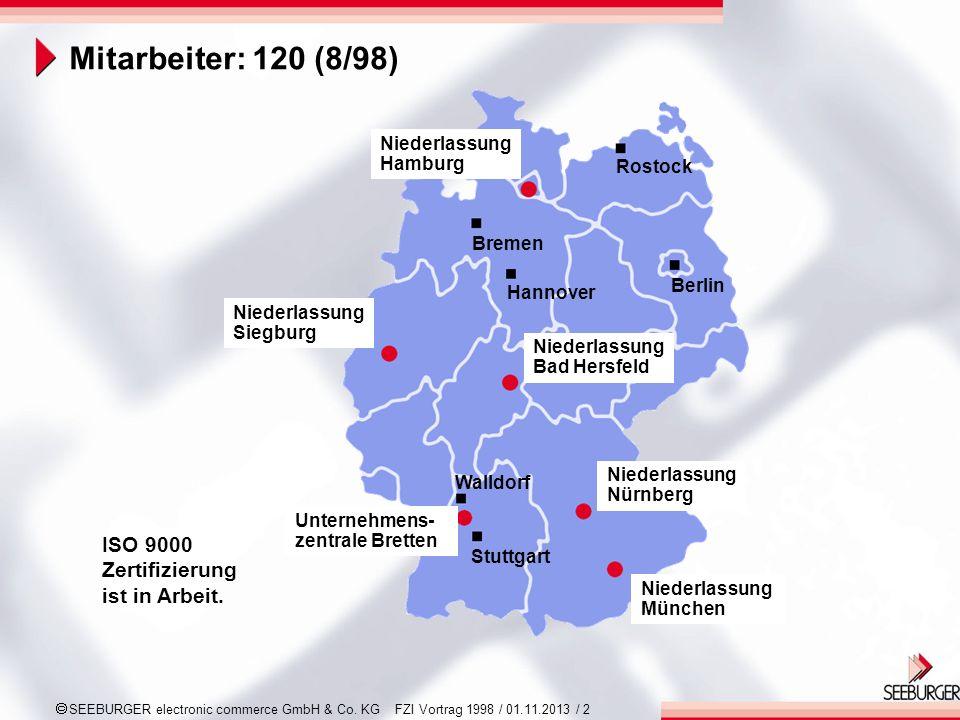 SEEBURGER electronic commerce GmbH & Co. KG FZI Vortrag 1998 / 01.11.2013 / 2 ISO 9000 Zertifizierung ist in Arbeit. Niederlassung München Niederlassu