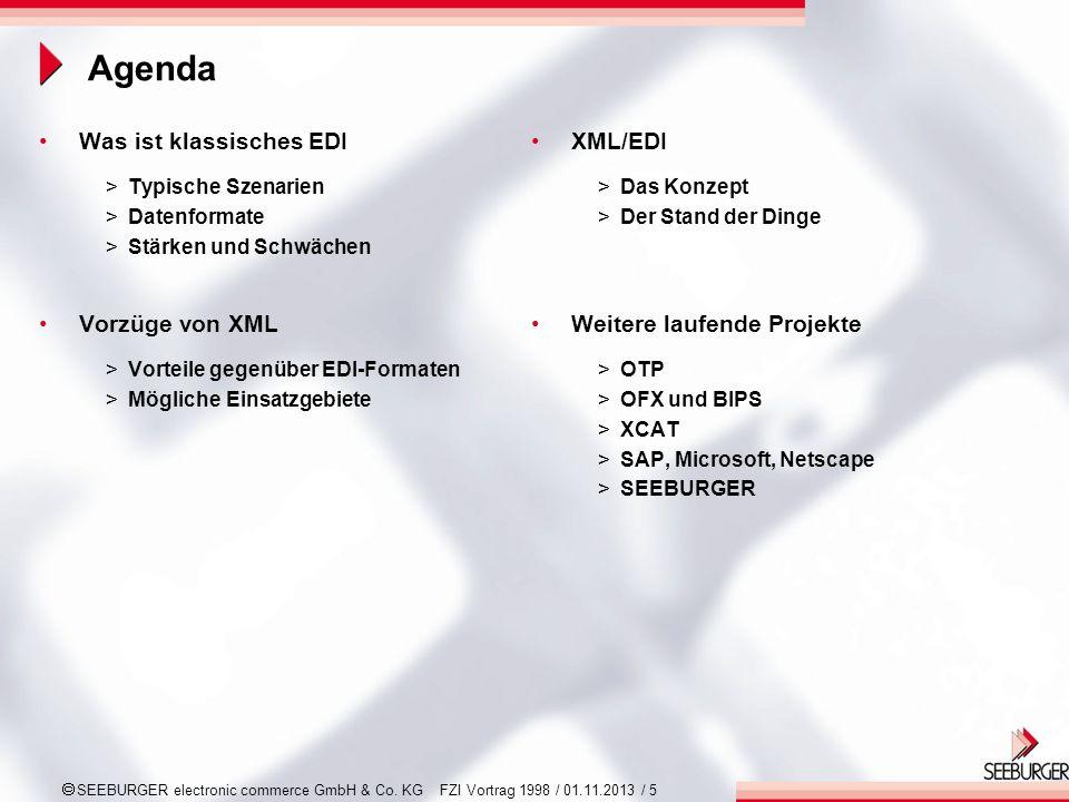 SEEBURGER electronic commerce GmbH & Co. KG FZI Vortrag 1998 / 01.11.2013 / 5 Agenda Was ist klassisches EDI >Typische Szenarien >Datenformate >Stärke