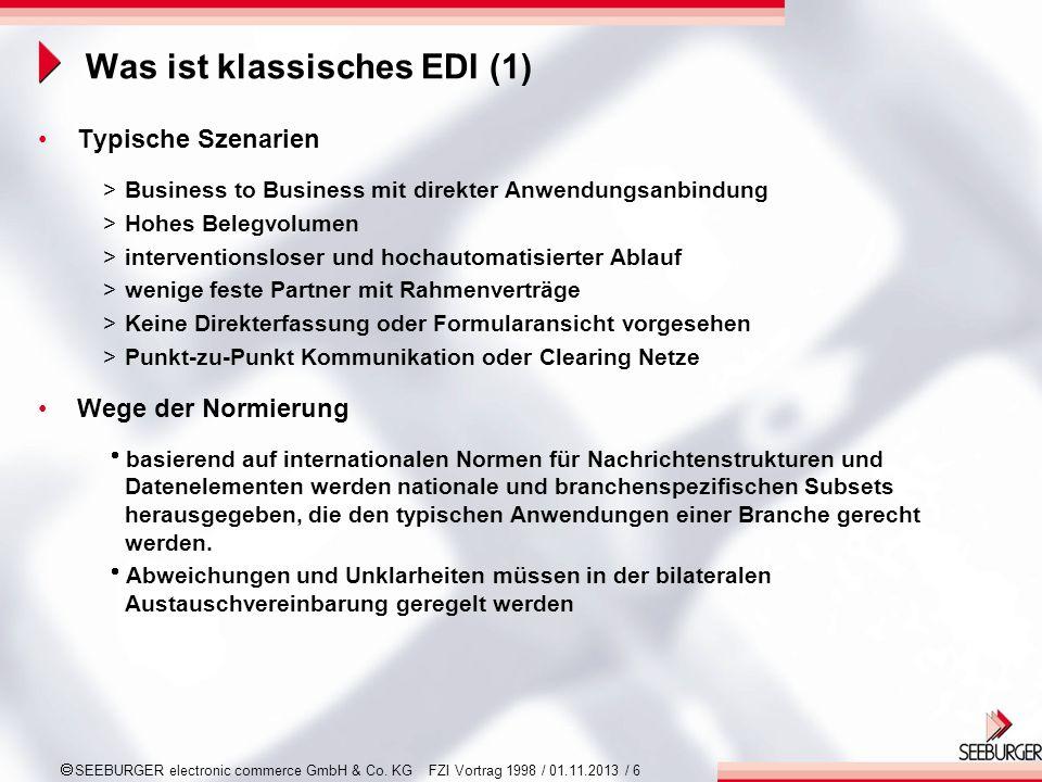 SEEBURGER electronic commerce GmbH & Co. KG FZI Vortrag 1998 / 01.11.2013 / 6 Was ist klassisches EDI (1) Typische Szenarien >Business to Business mit