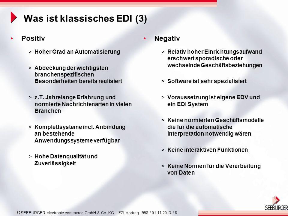 SEEBURGER electronic commerce GmbH & Co. KG FZI Vortrag 1998 / 01.11.2013 / 8 Was ist klassisches EDI (3) Positiv >Hoher Grad an Automatisierung >Abde
