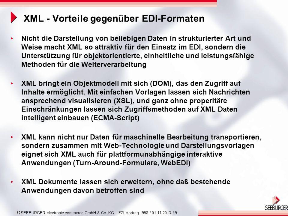 SEEBURGER electronic commerce GmbH & Co. KG FZI Vortrag 1998 / 01.11.2013 / 9 XML - Vorteile gegenüber EDI-Formaten Nicht die Darstellung von beliebig