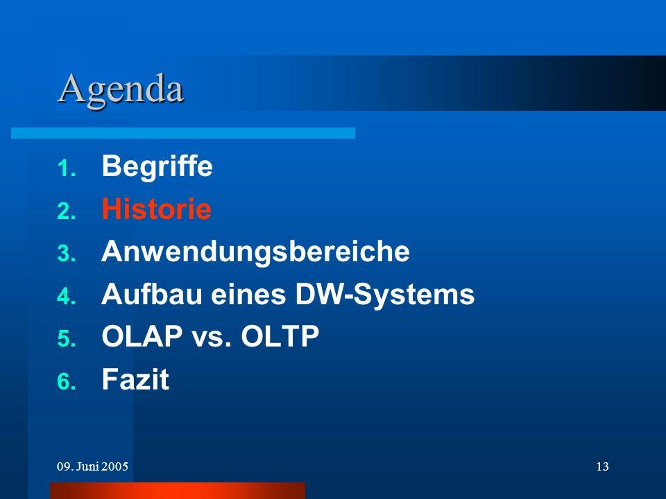 09. Juni 200513 Agenda 1. Begriffe 2. Historie 3. Anwendungsbereiche 4. Aufbau eines DW-Systems 5. OLAP vs. OLTP 6. Fazit