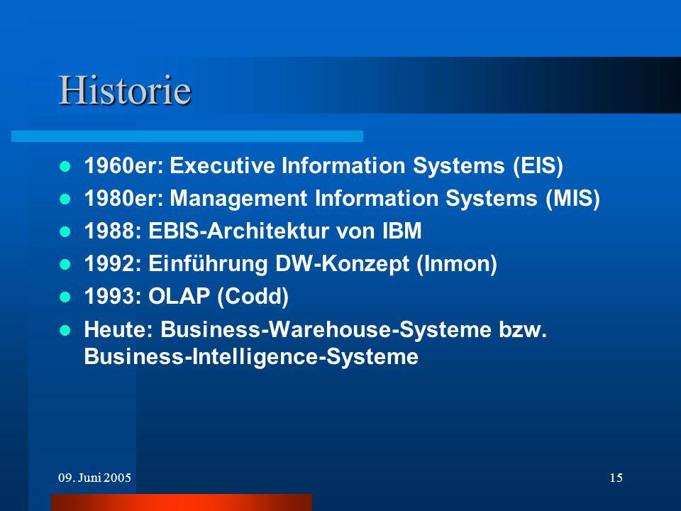 09. Juni 200515 Historie 1960er: Executive Information Systems (EIS) 1980er: Management Information Systems (MIS) 1988: EBIS-Architektur von IBM 1992: