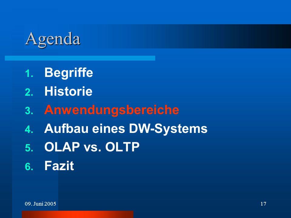 09. Juni 200517 Agenda 1. Begriffe 2. Historie 3. Anwendungsbereiche 4. Aufbau eines DW-Systems 5. OLAP vs. OLTP 6. Fazit