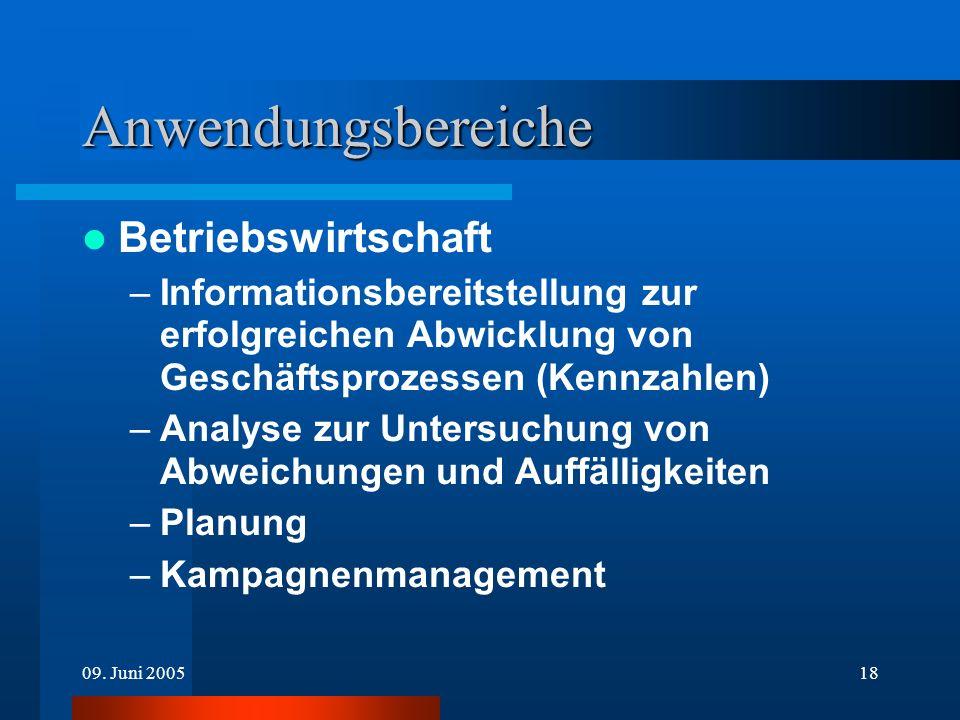09. Juni 200518 Anwendungsbereiche Betriebswirtschaft –Informationsbereitstellung zur erfolgreichen Abwicklung von Geschäftsprozessen (Kennzahlen) –An